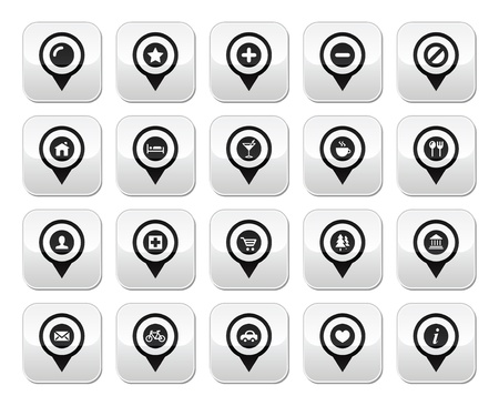 Map location markers, pointers vector buttons set Stock Vector - 17660544