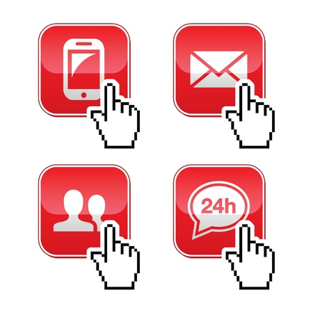 Contact buttons set with cursor hand icon Stock Vector - 17660556