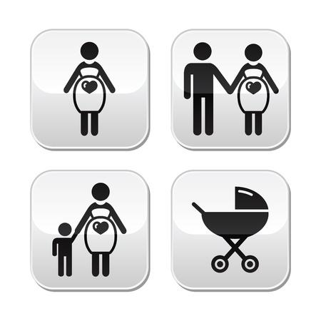 nursing mother: Botones mujer embarazada establecer Vectores