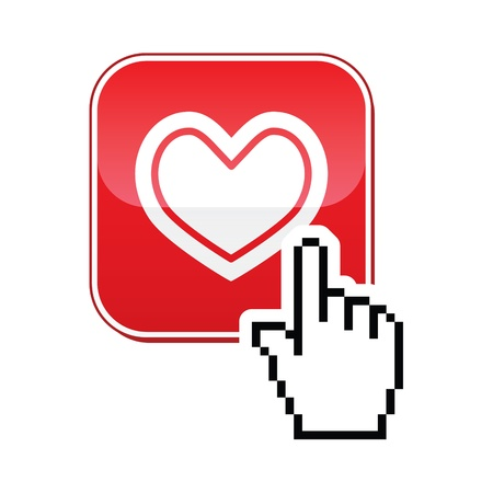 Heart button with cursor hand icon - velntines, love, online dating concept Vector