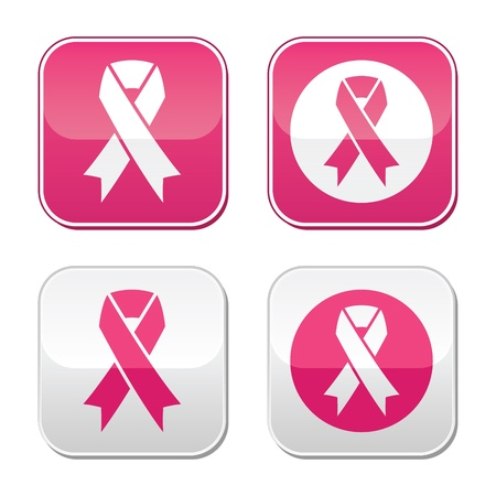 cancer ribbon: Ribbon symbols for breast cancer awareness buttons
