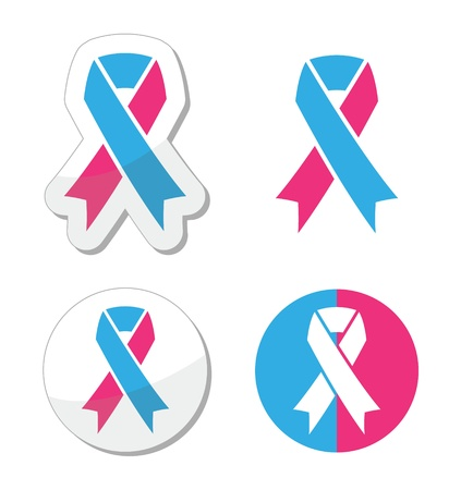 colon cancer: Pink and blue ribbon - pregnancy and infant loss awereness symbol