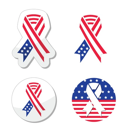 america soldiers: USA ribbon flag - symbol of patriotism, the victims and heros of the 9 11 attacks Illustration