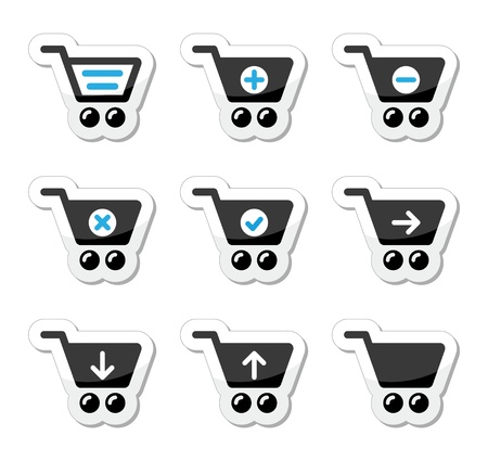 Shopping cart vector icons set Vector
