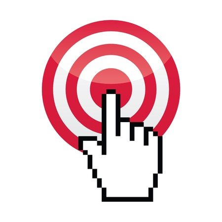 cursor hand: Target with cursor hand vecotr icon