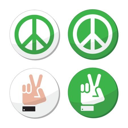 simbolo paz: Paz, mano iconos del vector de signos establecido