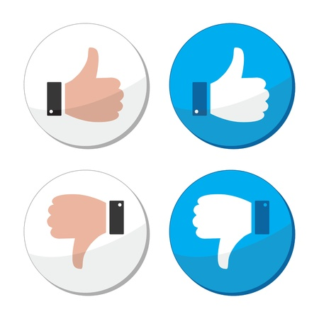 thumbs down: Thumb up and down like vector icon set