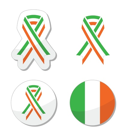 Irish ribbon flag labels - St Patricks Day celebration Vector