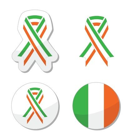 nothern ireland: Irish ribbon flag labels - St Patricks Day celebration