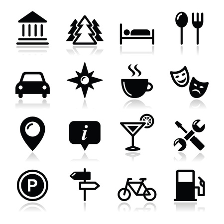 Travel tourism icons set - vector Vector