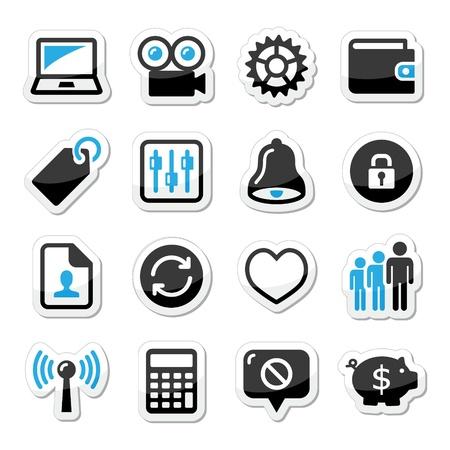 computer user: Web internet icons set - vector Illustration