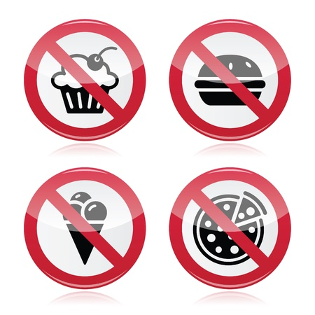 No fast food, no sweets warning red sign  Vector