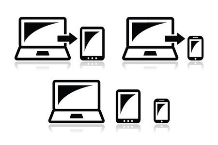 smarthone: Responsive design - laptop, tablet, smarthone vector icons  Illustration