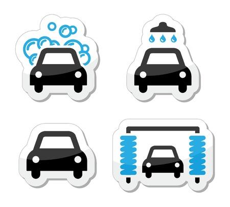 autolavaggio: Autolavaggio icone set - vettore