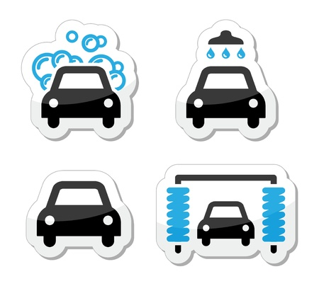 lavado: Iconos de lavado de coches conjunto - vector