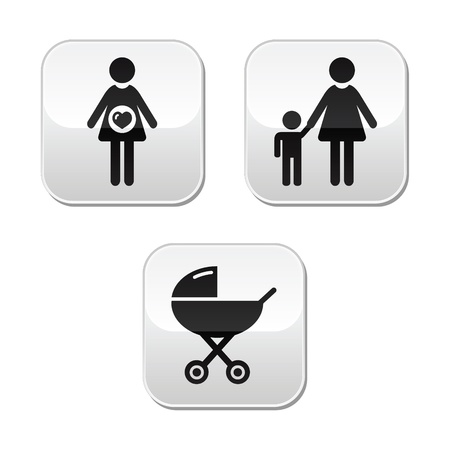 black baby boy: Baby pregnancy buttons set - carriage, motherhood, family Illustration