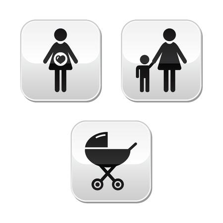mother to be: Bambino gravidanza pulsanti set - carrozza, la maternit�, la famiglia