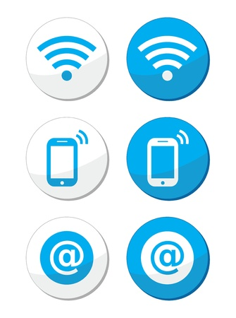 Wifi network, internet zone blue labels set - vector Stock Vector - 17772369