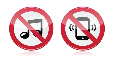sign not to talk by phone: No music, no noise red warning sign - vector Illustration