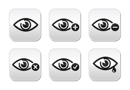 globo ocular: Vista del ojo botones set - vector