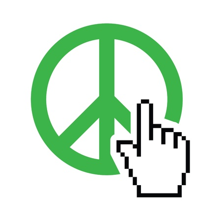 political and social issues: World peace green sign with cursor hand vector icon