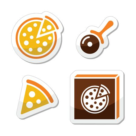 orange slice: Pizza vector icons set isolated on white