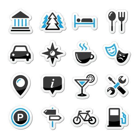 car park: Travel tourism icons set - vector