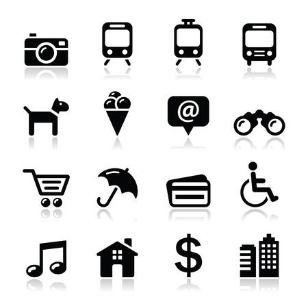 kijker: Reizen toerisme en transport iconen set - vector Stock Illustratie