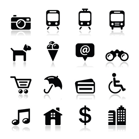 wheelchair: Travel tourism and transport icons set - vector