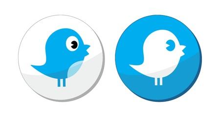 pajaro azul: Medios de comunicaci�n social azules etiquetas vector de aves Vectores