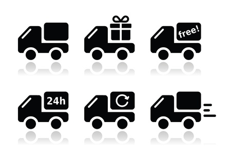 removal van: Delivery car, shipping vector icons set