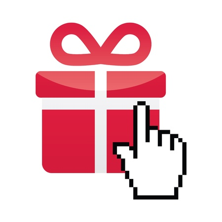 Red present icon with cursor hand vector Vector