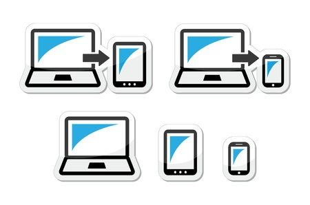 scalable set: Responsive design - laptop, tablet, smarthone vector icons blue and black