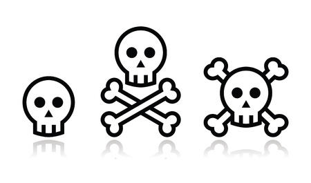 Cartoon skull with bones vector icon set Illustration