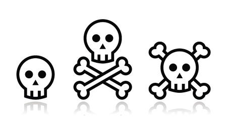 calaveras: Cr�neo de la historieta con los huesos icono de conjunto de vectores
