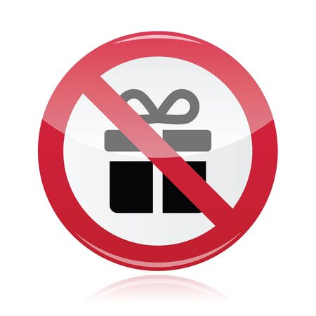 not give: No presents red warning signs - vector Illustration