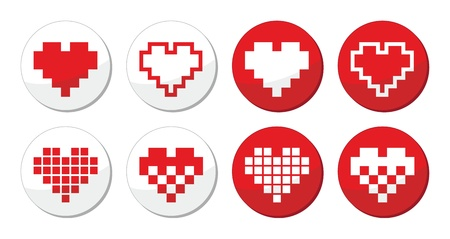 dating icons: Pixeleted red heart icons set - love, dating online concept