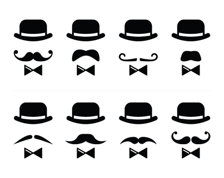 bowler hat: Gentleman icon - man with moustache and bow tie set