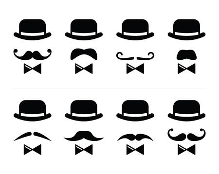 noeud papillon: Icône Gentleman - homme avec une moustache et un ensemble n?ud papillon Illustration