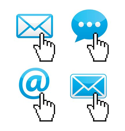 send email: Contact - envelope, email, speech bubble  with cursor hand icons Illustration