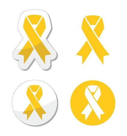 cancer symbol: Yellow Ribbon - apoyo a las tropas, prevenci�n del suicidio, s�mbolo padres adoptivos Vectores