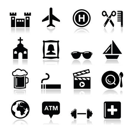 pin icon: Location map travelling icon set