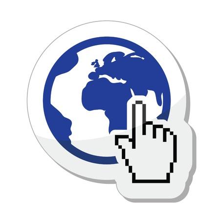 Globe, earth with cursor hand icon Stock Vector - 17996810