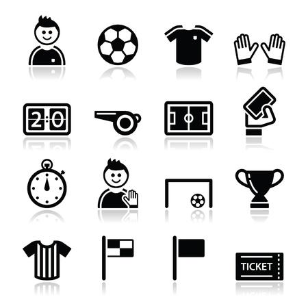 arbitros: Fútbol iconos del fútbol fijado Vectores