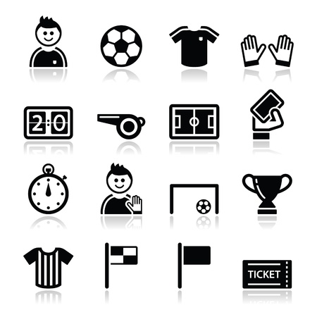 Soccer   football icons set Stock Vector - 17996813