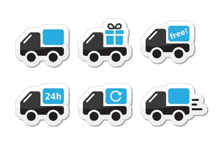 purchase order: Delivery car, shipping vector icons set