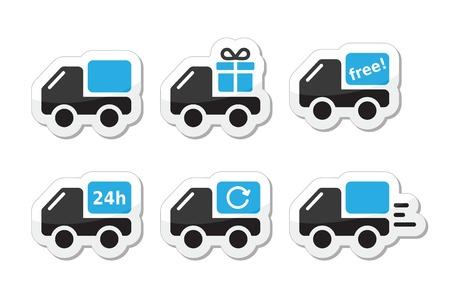 Levering auto, scheepvaart vector icons set Vector Illustratie