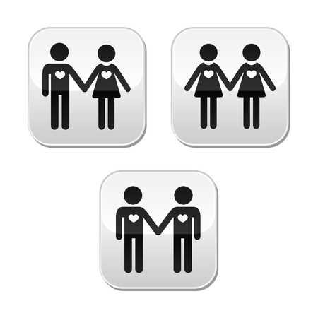 Man and woman, gay and lesbian couples vector buttons set Stock Vector - 18014165