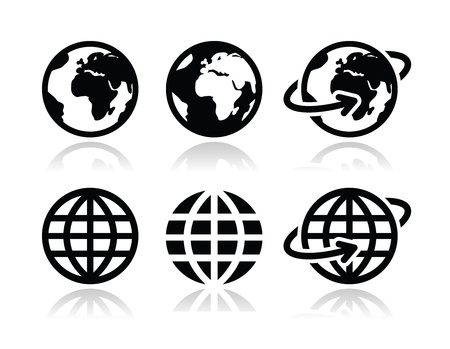 at icon: Globe earth vector icons set with reflection Illustration