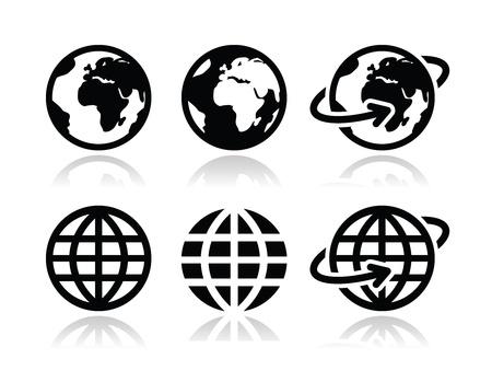 iconos: Globo de la tierra iconos conjunto de vectores con la reflexión